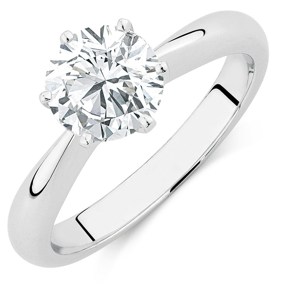 solitaire ct ring carat diamond g engagement with white gold rings si h accents round